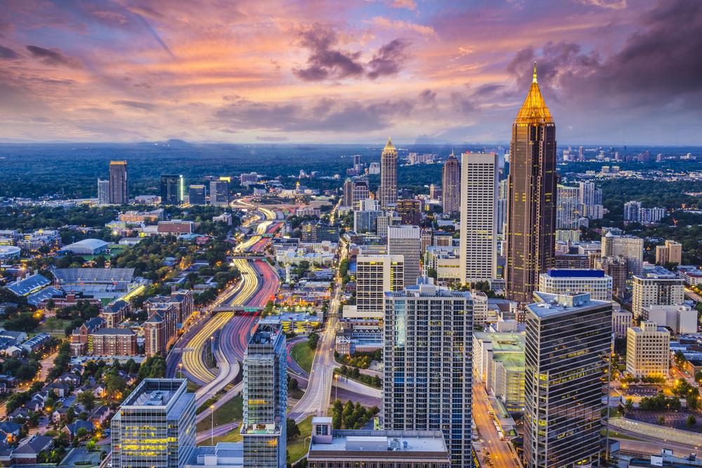 Atlanta, Georgia downtown aerial view.