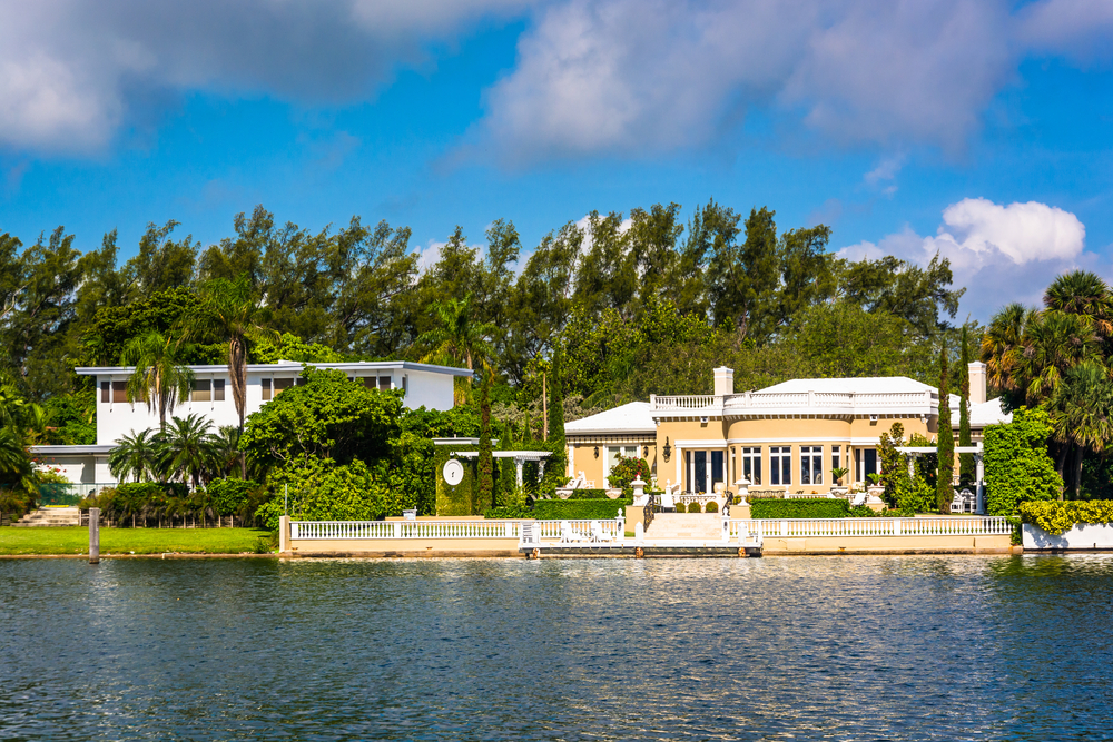Houses along Collins Canal in Miami Beach, Florida.